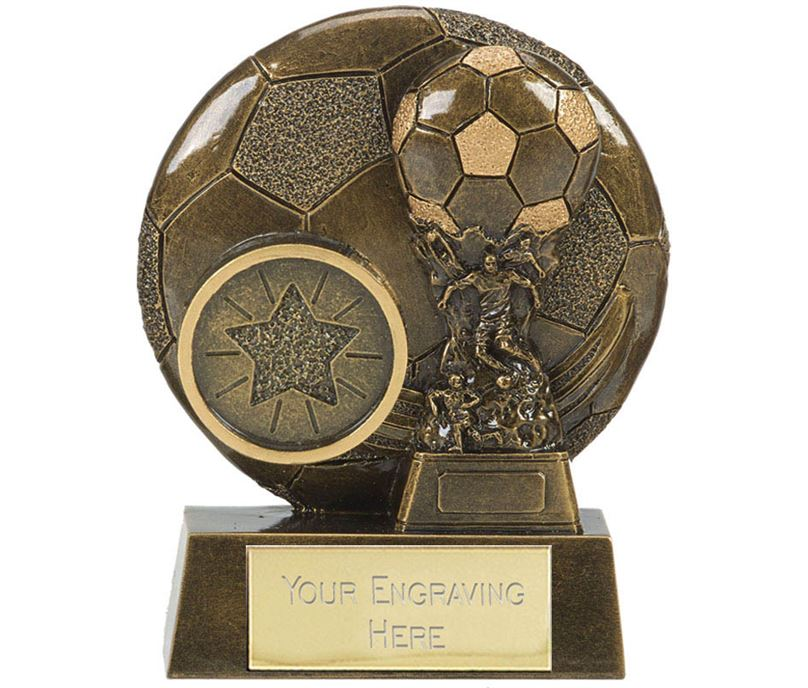 "Football Cup Shield Trophy Antique Gold 8cm (3.25"")"