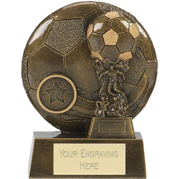 """Football Cup Shield Trophy Antique Gold 10cm (4"""")"""
