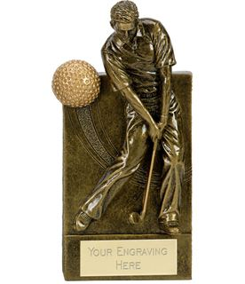 "Action Golfer With Golf Ball Wedge Award Antique Gold 18.5cm (7.25"")"