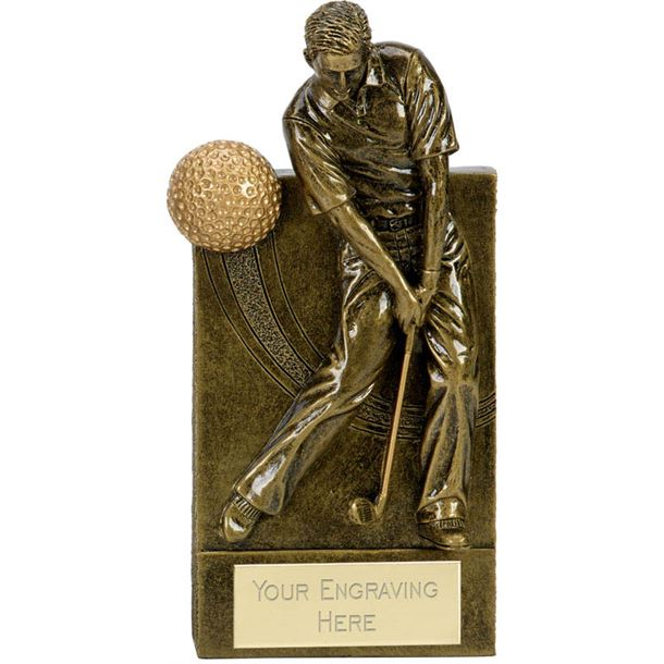 """Action Golfer With Golf Ball Wedge Award Antique Gold 18.5cm (7.25"""")"""