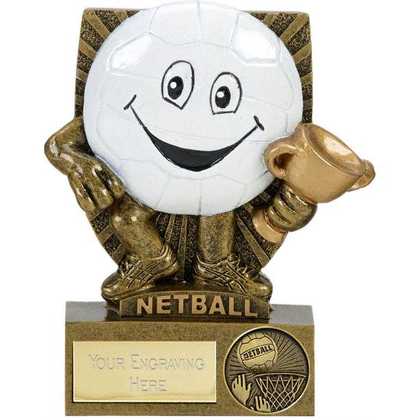 """Novelty Happy Face Netball Character Shield Award 10.5cm (4.25"""")"""