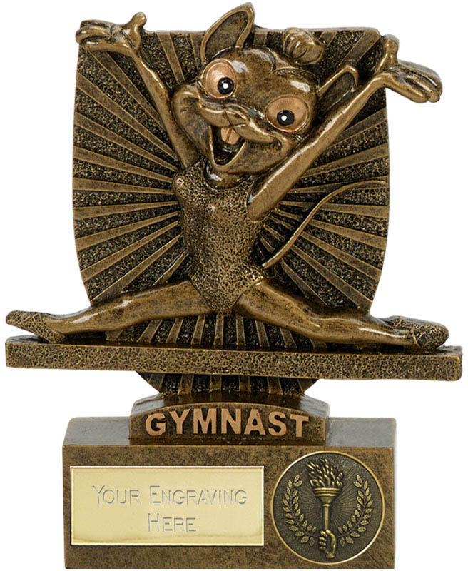 "Novelty Gymnastics Mouse Shield Award Antique Gold 10.5cm (4.25"")"
