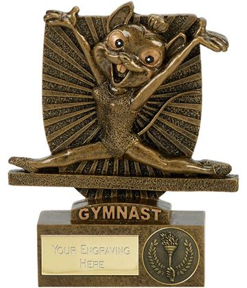 "Novelty Gymnastics Mouse Shield Award Antique Gold 10.5cm (4.25"")"