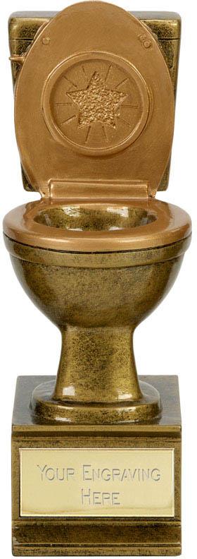 """Novelty Toilet Golden Flush Award Antique Gold 15cm (6"""")"""