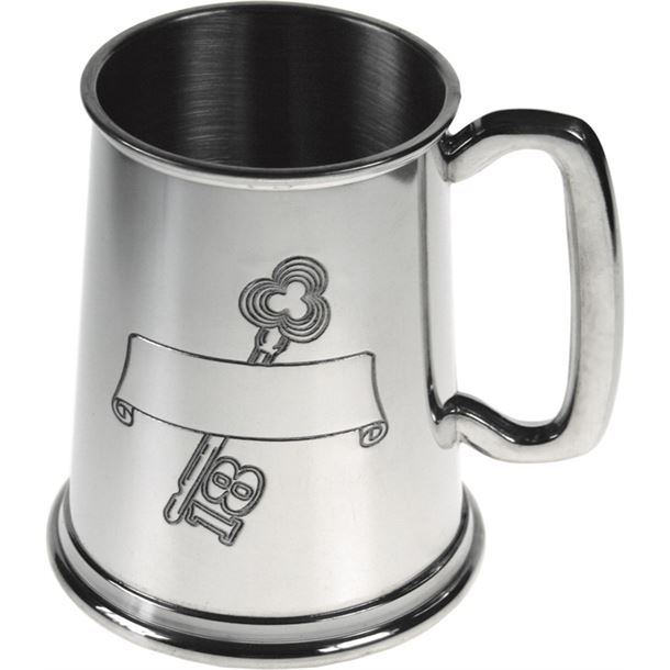 "18th Birthday Key Stamped 1pt Sheffield Pewter Tankard 11.5cm (4.5"")"