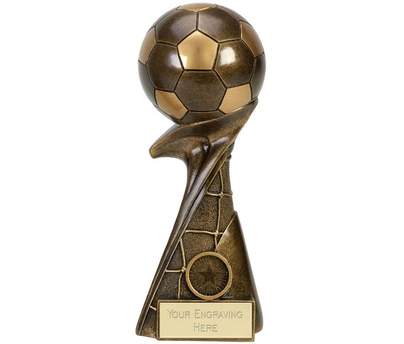 "3D Ball On Net Column Curl Football Award 15cm (6"")"
