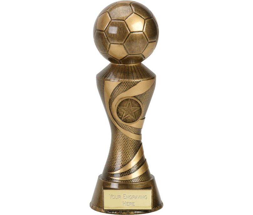 "Antique Gold 3D Football On Ace Spiral Column Trophy 17.5cm (7"")"