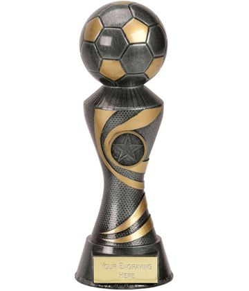 "Antique Silver 3D Football On Ace Spiral Column Trophy 20cm (8"")"