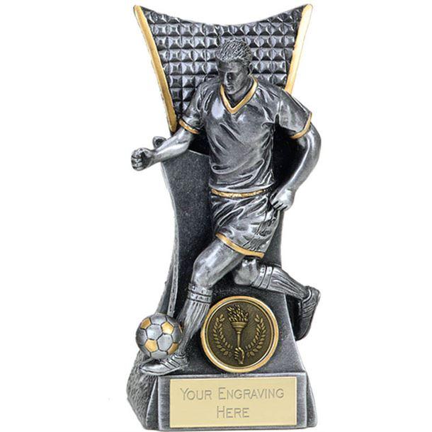 "Action Football Player Conqueror Trophy Antique Silver 14cm (5.5"")"