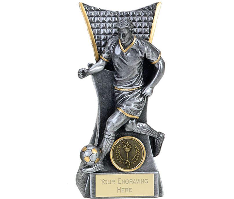 "Action Football Player Conqueror Trophy Antique Silver 16cm (6.25"")"