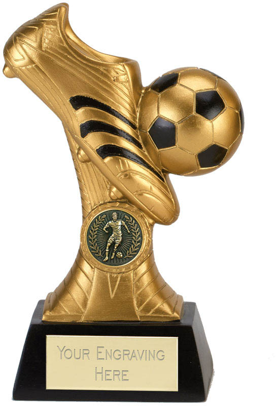 "Gold & Black Boot & Ball Striker Trophy 18cm (7"")"