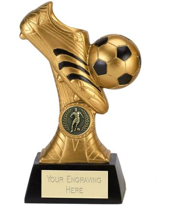"Gold & Black Boot & Ball Striker Trophy 18cm (7"")"