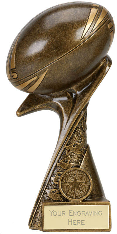 "3D Rugby Ball On Angled Base Antique Gold 20cm (8"")"