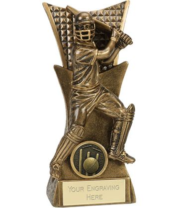 "Action Cricket Batsman Antique Gold Conqueror Trophy 16cm (6.25"")"