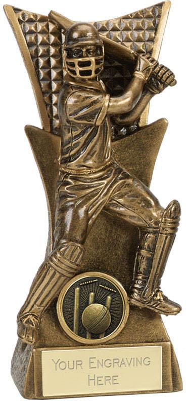 "Action Cricket Batsman Antique Gold Conqueror Trophy 18cm (7"")"