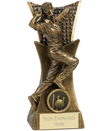 "Cricket Bowler Action Conqueror Trophy Antique Gold 16cm (6.25"")"