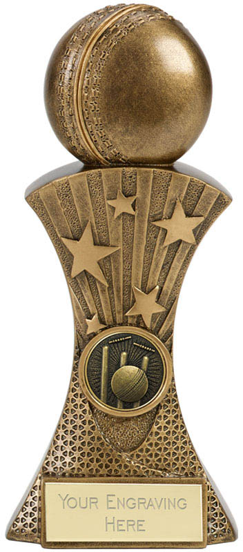 """3D Cricket Ball On Flared Star Tower Antique Gold Trophy 17.5cm (7"""")"""