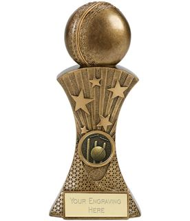 """3D Cricket Ball On Flared Star Tower Antique Gold Trophy 20cm (8"""")"""