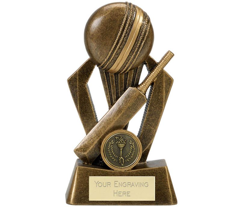 """Cricket Bat & Ball Antique Gold Fiesta Trophy 15cm (6"""")"""
