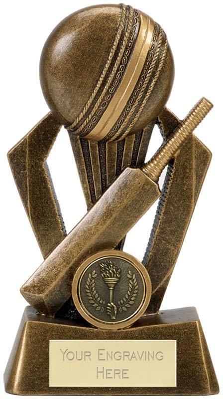 """Cricket Bat & Ball Antique Gold Fiesta Trophy 17.5cm (7"""")"""