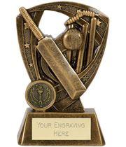 "Antique Gold Cricket Bat & Ball On Puma Star Shield 15.5cm (6"")"
