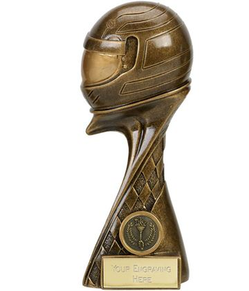 "Guardian 3D Motorsport Helmet Antique Gold Trophy 17.5cm (7"")"