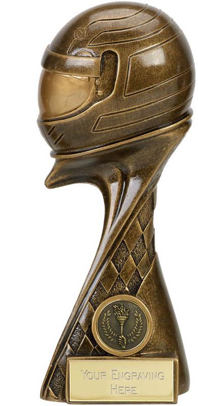 "Guardian 3D Motorsport Helmet Antique Gold Trophy 20cm (8"")"