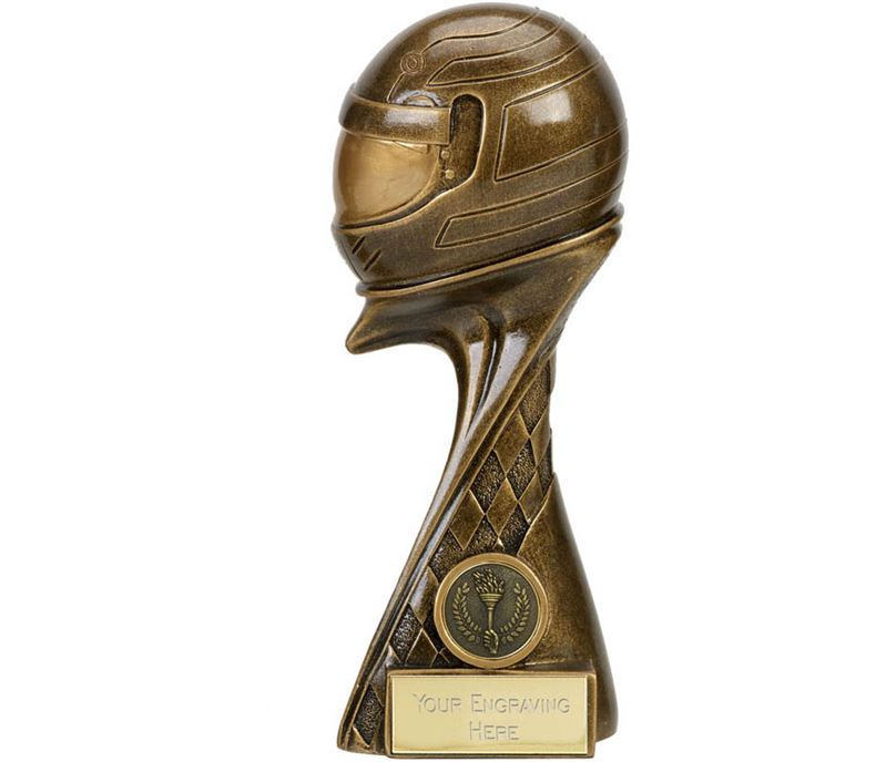 "Guardian 3D Motorsport Helmet Antique Gold Trophy 22.5cm (8.75"")"