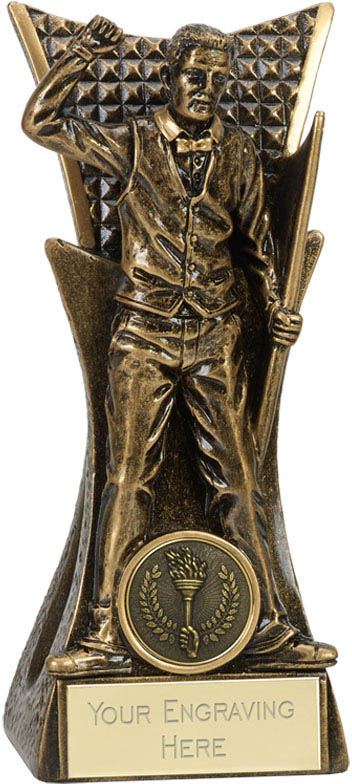 "Antique Gold Pool Or Snooker Player Holding Cue Trophy 18cm (7"")"