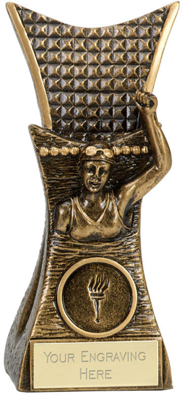 "Female Swimmer Conqueror Antique Gold Trophy 14cm (5.5"")"