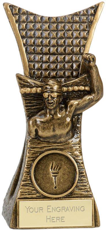 "Male Swimmer Conqueror Antique Gold Trophy 14cm (5.5"")"