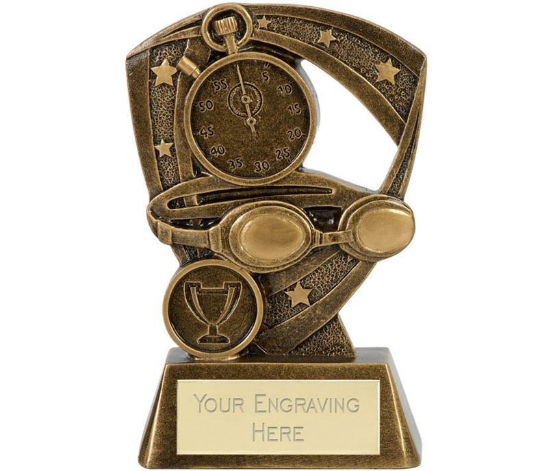 """Goggles & Stopwatch Swimming Trophy Antique Gold 13.5cm (5.25"""")"""