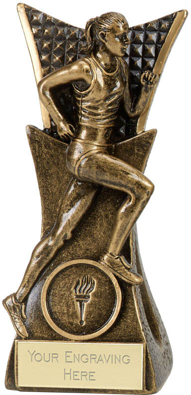 "Antique Gold Female Running Conqueror Trophy 14cm (5.5"")"