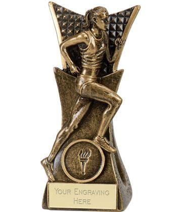 """Antique Gold Female Running Conqueror Trophy 14cm (5.5"""")"""