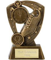 "Running Shoe Athletics Trophy Within Star Boarder 11.5cm (4.5"")"