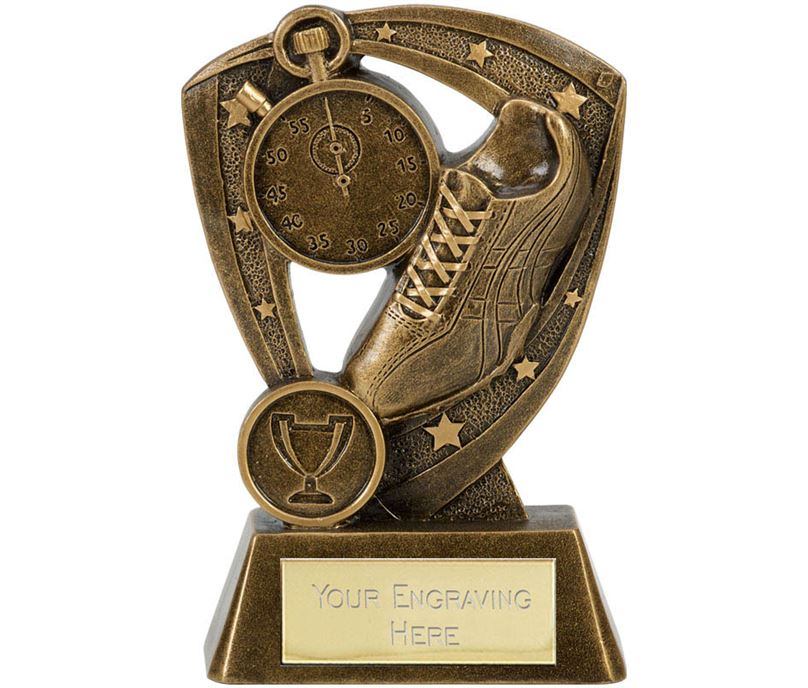 "Running Shoe Athletics Trophy Within Star Boarder 13.5cm (5.25"")"