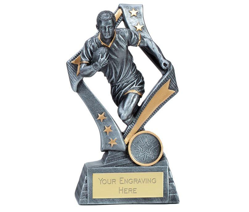 """Flag Rugby Trophy Silver 17cm (6.75"""")"""