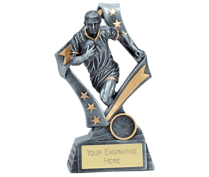 """Flag Rugby Trophy Silver 19cm (7.5"""")"""