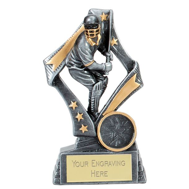 "Flag Cricket Batsman Trophy Silver 13cm (5.25"")"