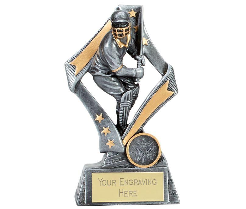 "Flag Cricket Batsman Trophy Silver 17cm (6.75"")"