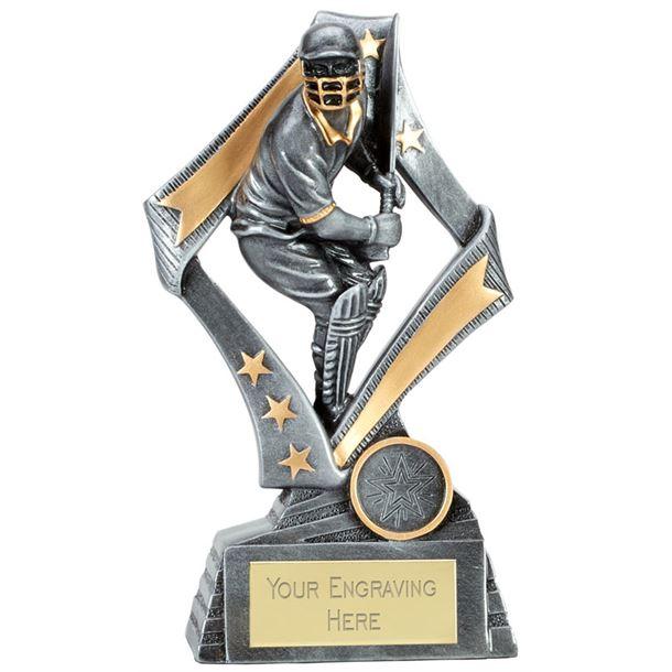 "Flag Cricket Batsman Trophy Silver 19cm (7.5"")"