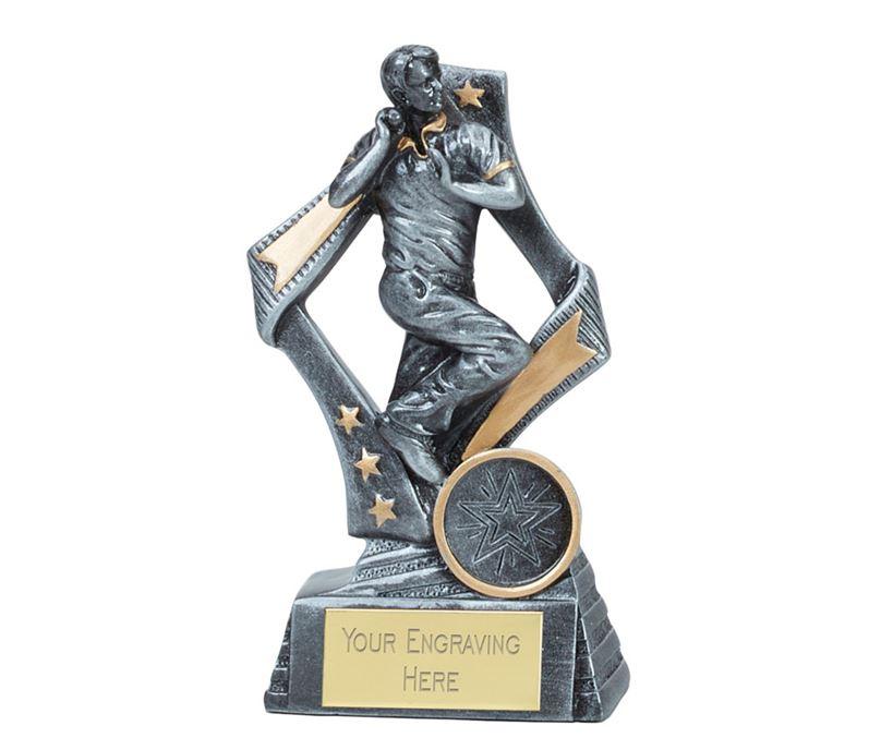 "Flag Cricket Bowler Trophy Silver 13cm (5.25"")"