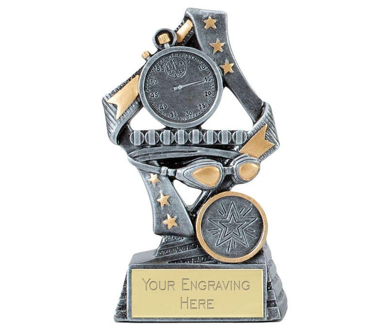"Flag Swimming Trophy Silver 17cm (6.75"")"