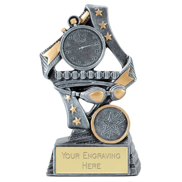 """Flag Swimming Trophy Silver 19cm (7.5"""")"""