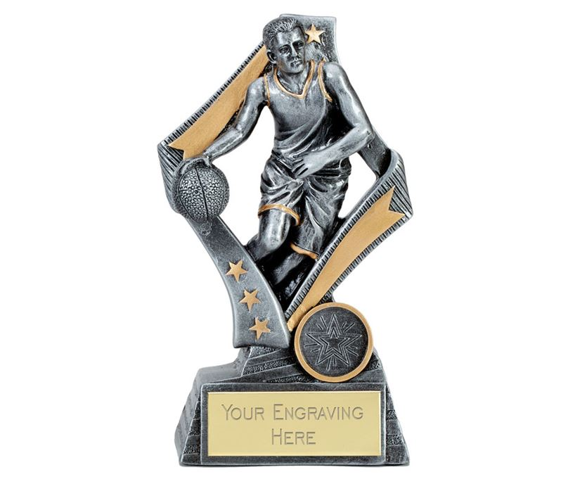 "Flag Basketball Trophy Silver 13cm (5.25"")"