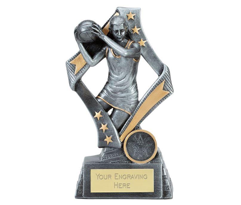 "Flag Netball Trophy Silver 17cm (6.75"")"