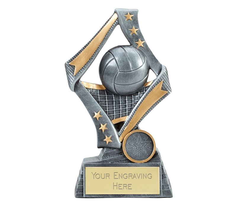 "Flag Volleyball Trophy Silver 17cm (6.75"")"