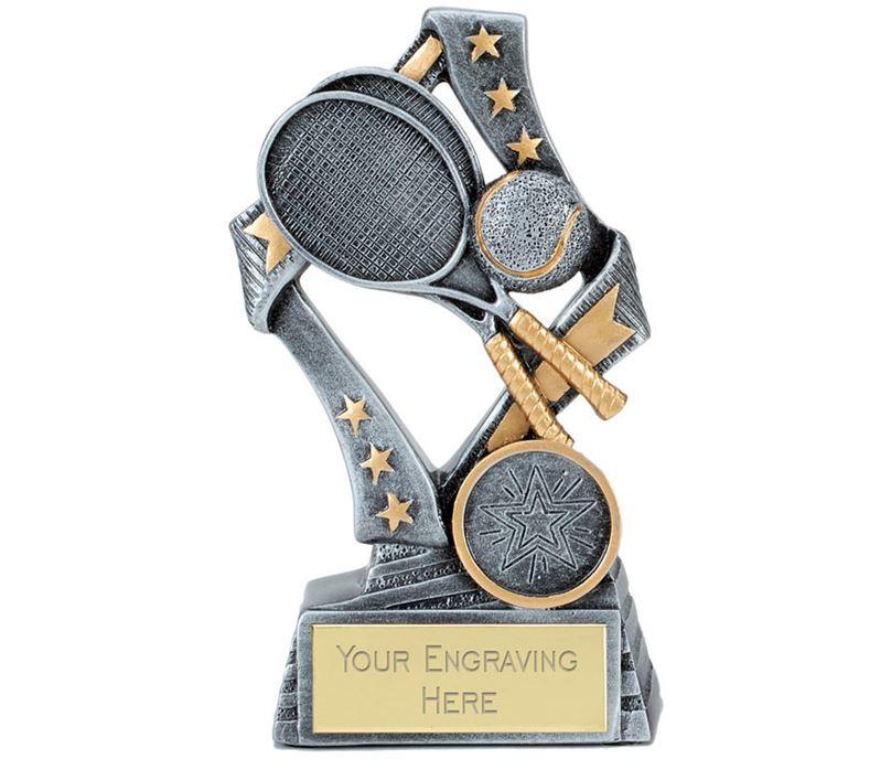 """Flag Tennis Trophy Silver 13cm (5.25"""")"""