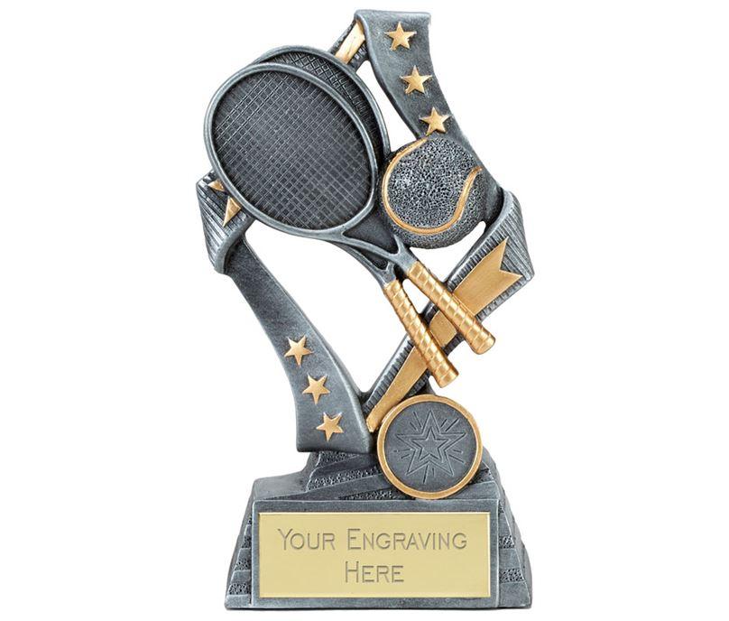 """Flag Tennis Trophy Silver 19cm (7.5"""")"""