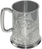 "Acanthus Patterned 1pt Sheffield Pewter Tankard 11.5cm (4.5"")"